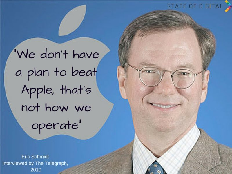 We don't have a plan to beat Apple, that's not how we operate - Eric Schmidt