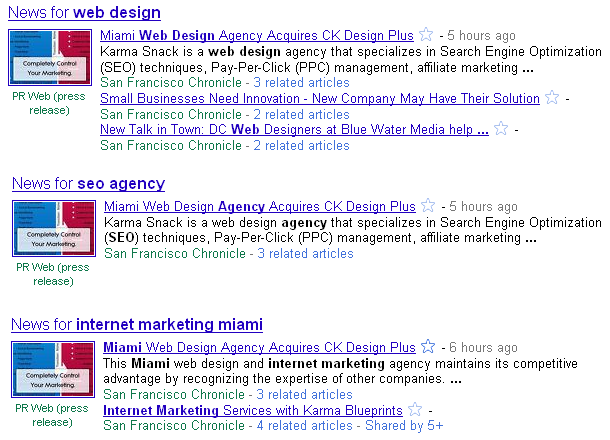 Google News Universal Search Results