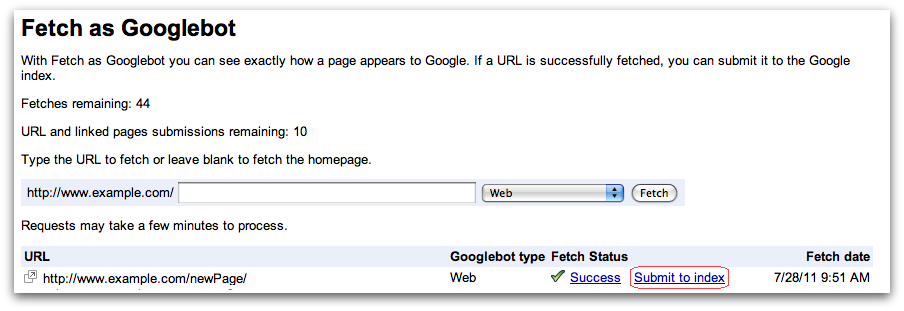 Google now allows URL submission through Webmaster Tools - State of Digital
