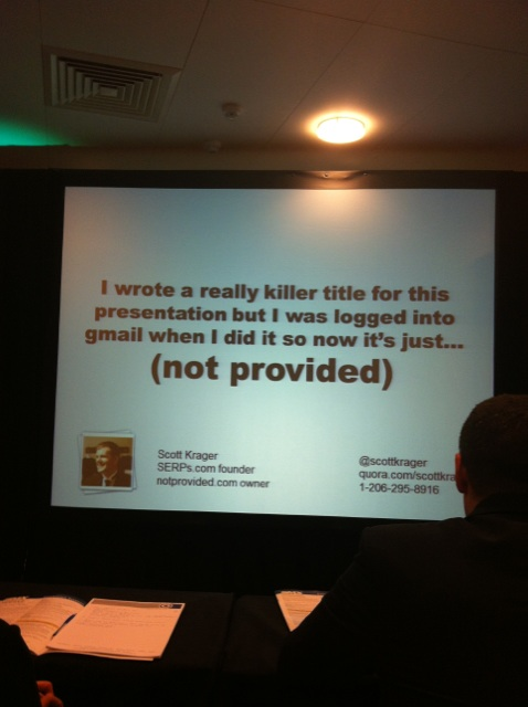 Scott Krager talking about [Not provided] at London SMX