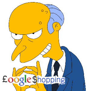 Mr Burns Holding a Google Shopping Logo and being Evil