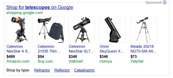 New Google Shopping format