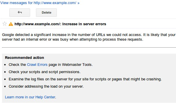 Google-url-error-message