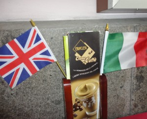UK and Italian flags at dinner