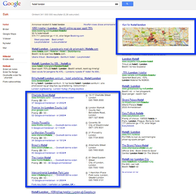maps in serps for hotel london