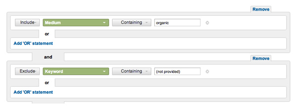 Organic Traffic Excluding Not Provided
