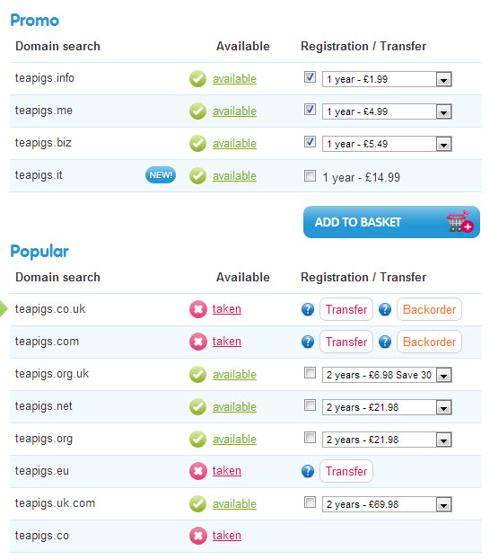 Teapigs Domains