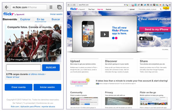 Flickr Parallel Mobile Site