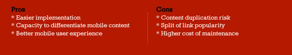 Parallel Mobile Site Pros & Cons