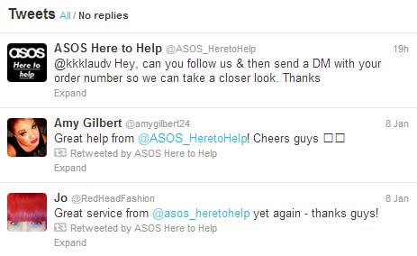 Twitter Feed ASOS Here to Help