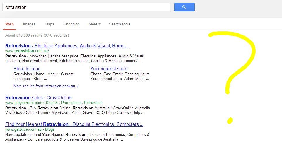 Retravision search snippet