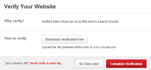 Verify Your Website