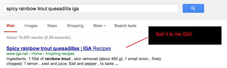 IGA Spicy Rainbow Trout Recipe SERP