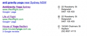 Google Places AGY SERP