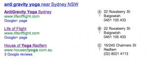 Google Places AGY SERP