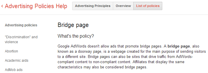Bridge page - Advertising Policies Help