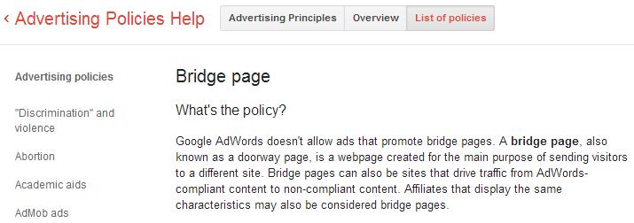 Bridge page - Advertising Policies Help
