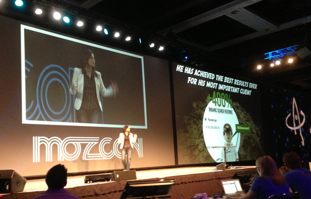 Aleyda Solis speaking at MozCon