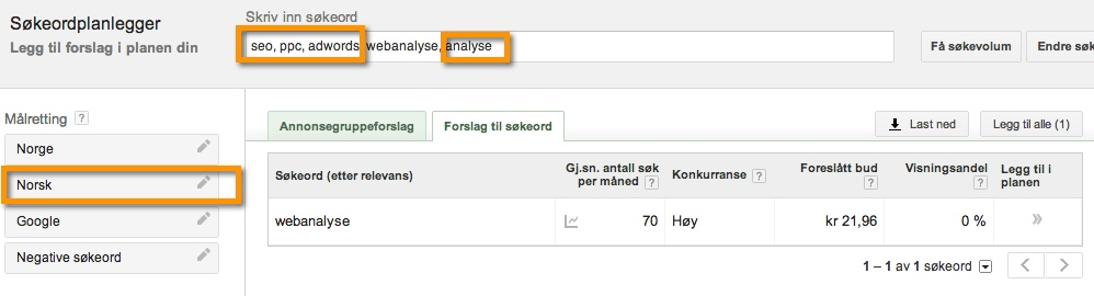 keyword planner language filter norwegian