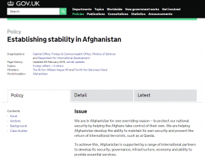gov.uk- Afganistan policy