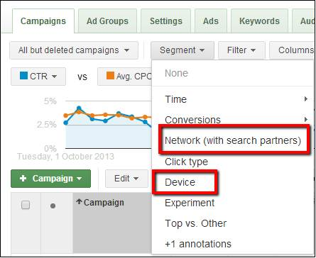 segment your data by Network or Device in AdWords