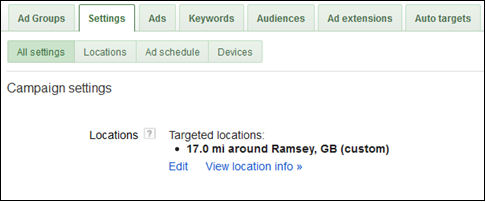 Define your Geographical settings in AdWords