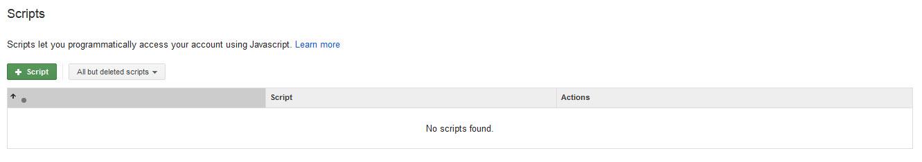 AdWords Script Page