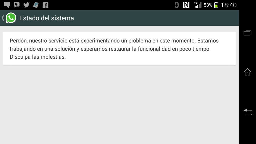 Whatsapp outage message 22 02 2014