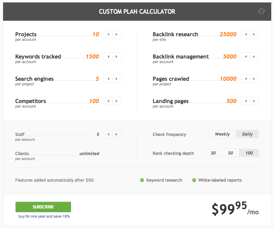 webmeup custom plan calculator