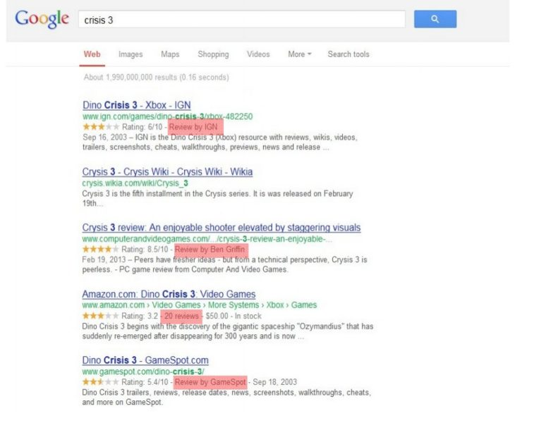 Schema Review Examples from Search Results