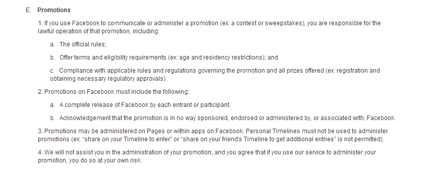 facebook pages terms
