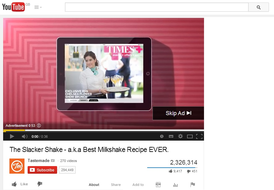 youtube ad example sunday times tastemade