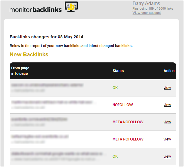 Monitor Backlinks email notification