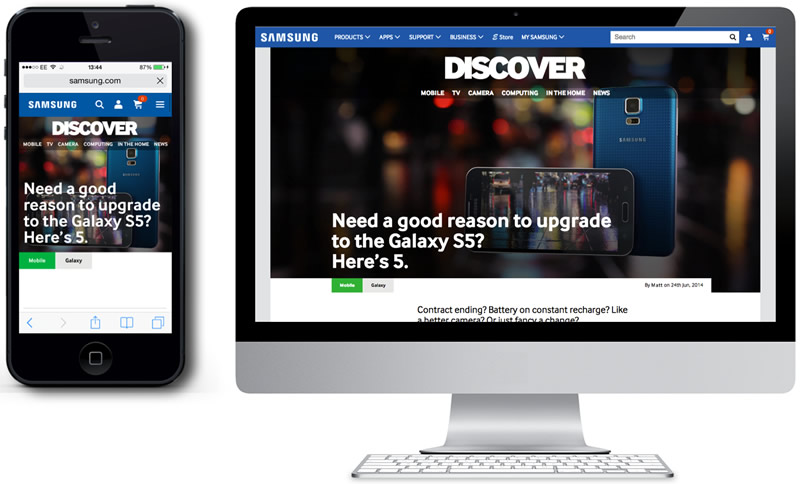 Samsung landing pages