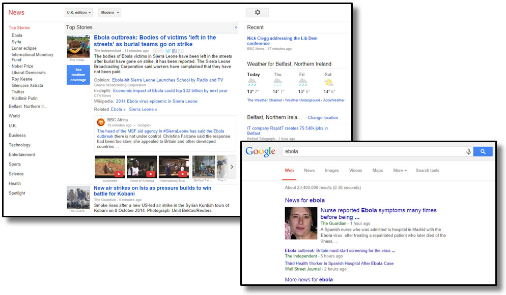 Google News and vertical element