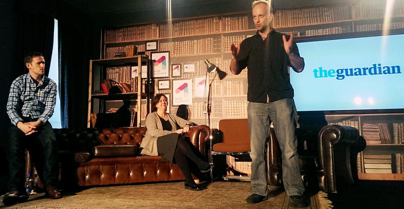 The Guardian's Chris Moran, Tanya Cordrey, and Graham Tackley at the 2014 Web Summit