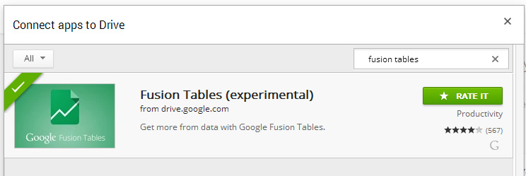 Search for fusion tables app