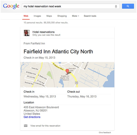 Hotel Reservations in the search engine result pages