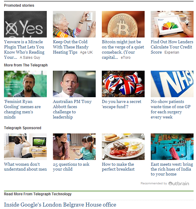 Telegraph - Outbrain Content Seeding Example