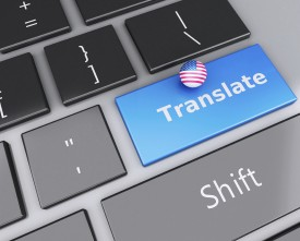 3d english translation button on Computer Keyboard. Translating