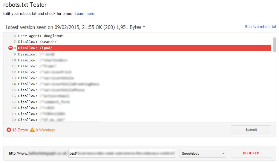 Google Webmaster Tools Robots.txt Tester