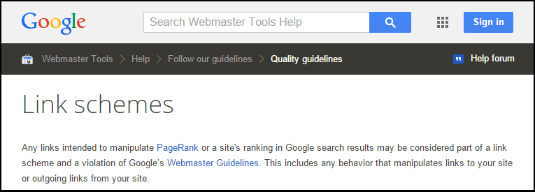 Google guidelines on links