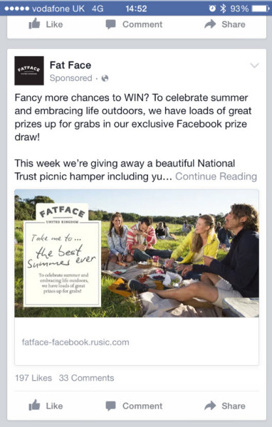 FatFace Facebook Ad - State of Digital