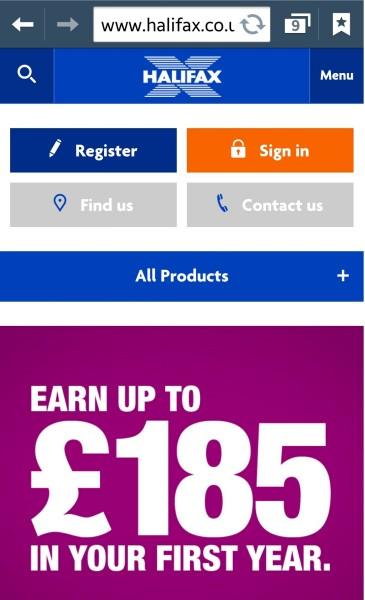 Halifax Mobile Homepage - State of Digital