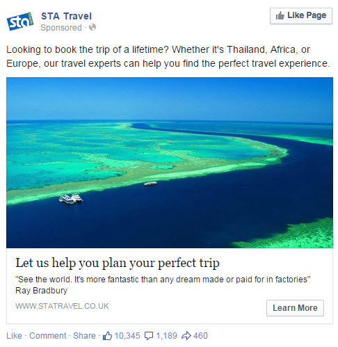 STA Travel Facebook Ad - State of Digital