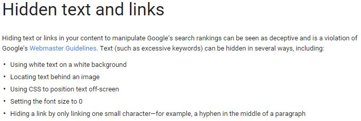 Google hidden links spam