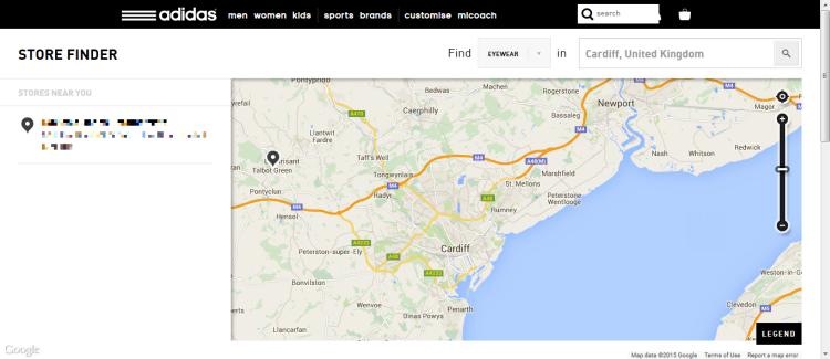 Adidas Store Finder screenshot