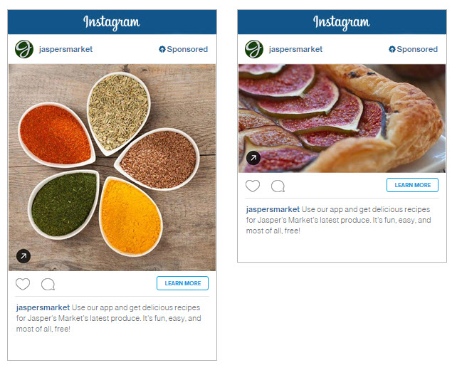 Instagram Clicks to Website Ad Example