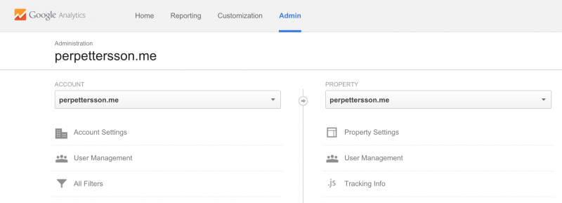 Google Analytics Admin Interface