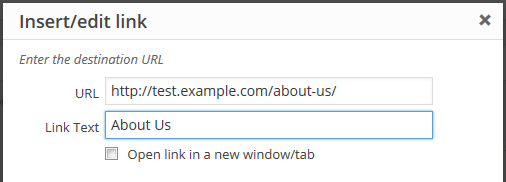 Test URL example screenshot